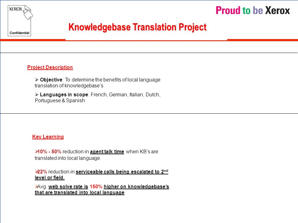 Knowledgebase Translation Project Project Description Key Learning  Objective: To determine the benefits of local language translation of knowledgebase's.
