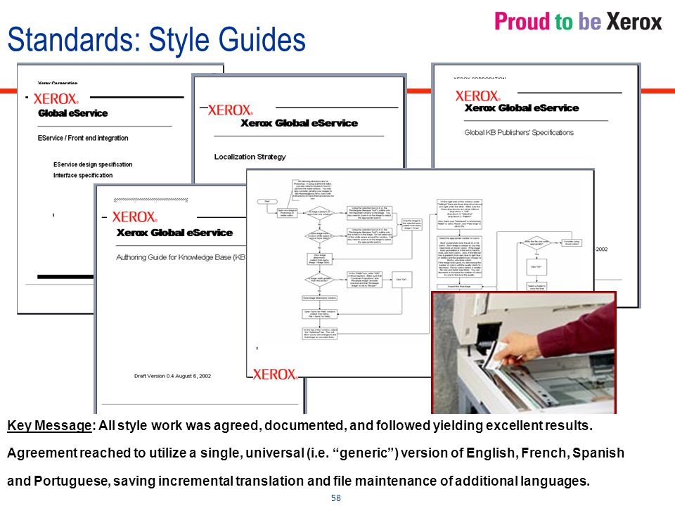 58 Standards: Style Guides Key Message: All style work was agreed, documented, and followed yielding excellent results.