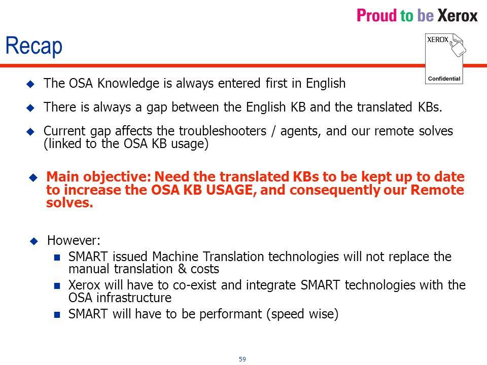 59 Recap  The OSA Knowledge is always entered first in English  There is always a gap between the English KB and the translated KBs.