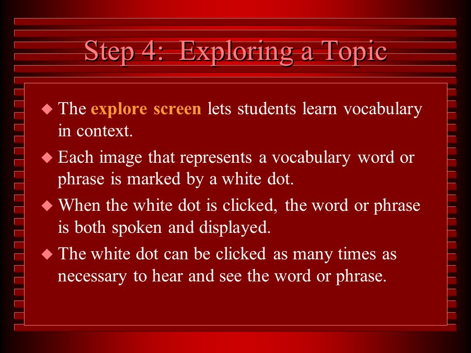 Choose a topic by clicking on its picture. Use the Scroll Bar to see all topics within a unit.