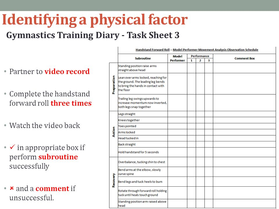 Identifying a physical factor Gymnastics Training Diary - Task Sheet 3 Partner to video record Complete the handstand forward roll three times Watch t