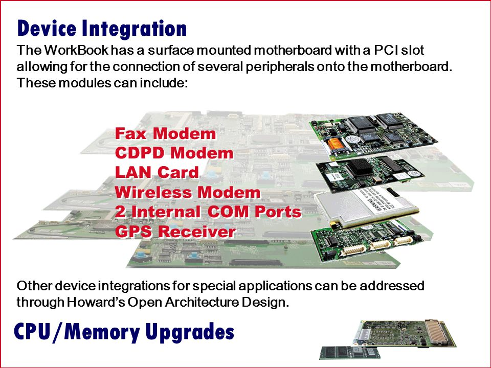 CPU/Memory Upgrades Device Integration The WorkBook has a surface mounted motherboard with a PCI slot allowing for the connection of several peripherals onto the motherboard.