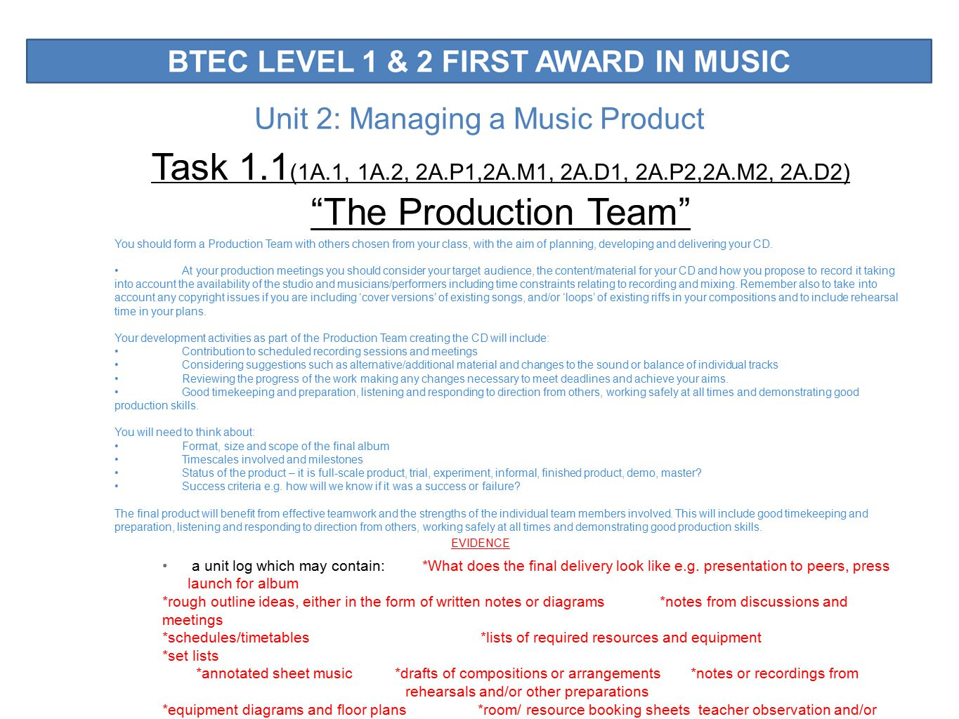 Unit 2: Managing a Music Product Task 1.1 (1A.1, 1A.2, 2A.P1,2A.M1, 2A.D1, 2A.P2,2A.M2, 2A.D2) The Production Team You should form a Production Team with others chosen from your class, with the aim of planning, developing and delivering your CD.