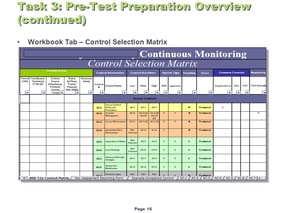 Page 16 Task 3: Pre-Test Preparation Overview (continued) Workbook Tab – Control Selection Matrix