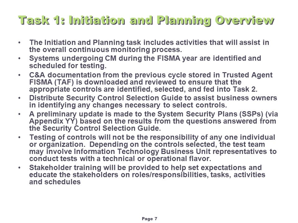 Page 18 Workbook Tab – Security Assessment Reporting Form Task 3: Pre-Test Preparation Overview (continued)
