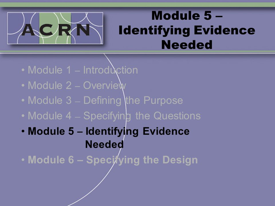 Module 5 – Identifying Evidence Needed Module 1 – Introduction Module 2 – Overview Module 3 – Defining the Purpose Module 4 – Specifying the Questions