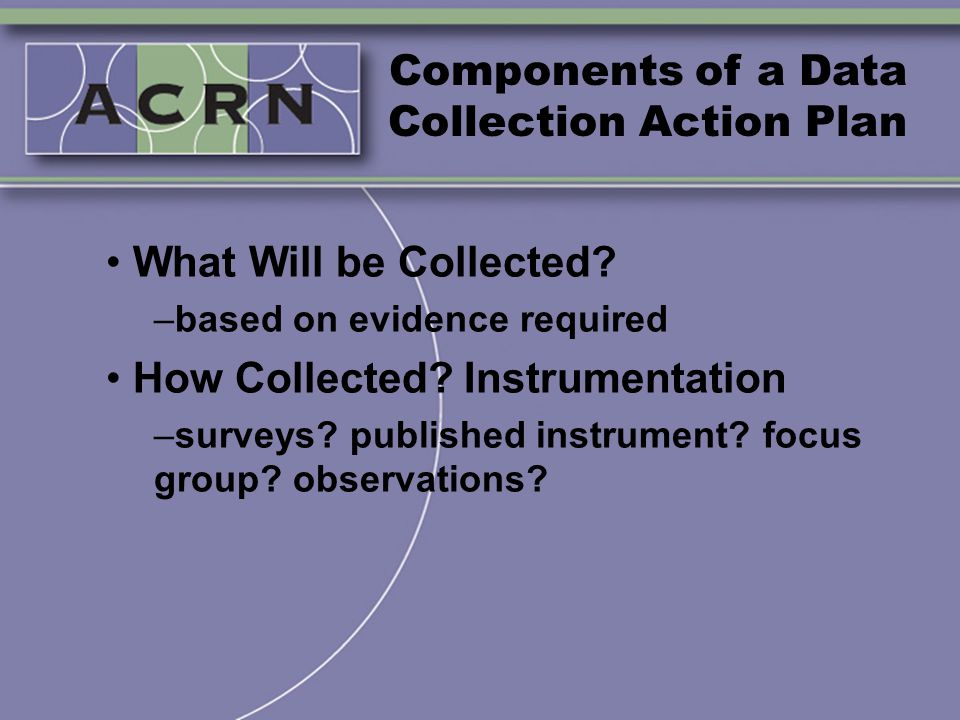 Components of a Data Collection Action Plan What Will be Collected? –based on evidence required How Collected? Instrumentation –surveys? published ins
