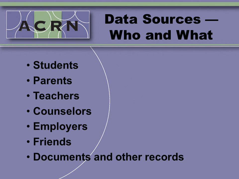 Data Sources — Who and What Students Parents Teachers Counselors Employers Friends Documents and other records