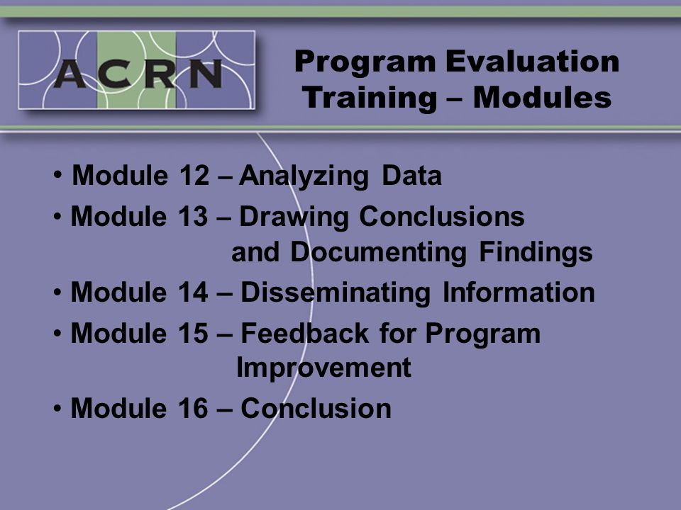 Program Evaluation Training – Modules Module 12 – Analyzing Data Module 13 – Drawing Conclusions and Documenting Findings Module 14 – Disseminating In