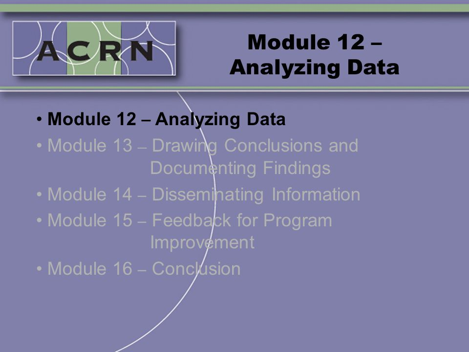 Module 12 – Analyzing Data Module 13 – Drawing Conclusions and Documenting Findings Module 14 – Disseminating Information Module 15 – Feedback for Pro