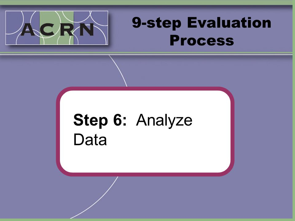 9-step Evaluation Process Step 6: Analyze Data