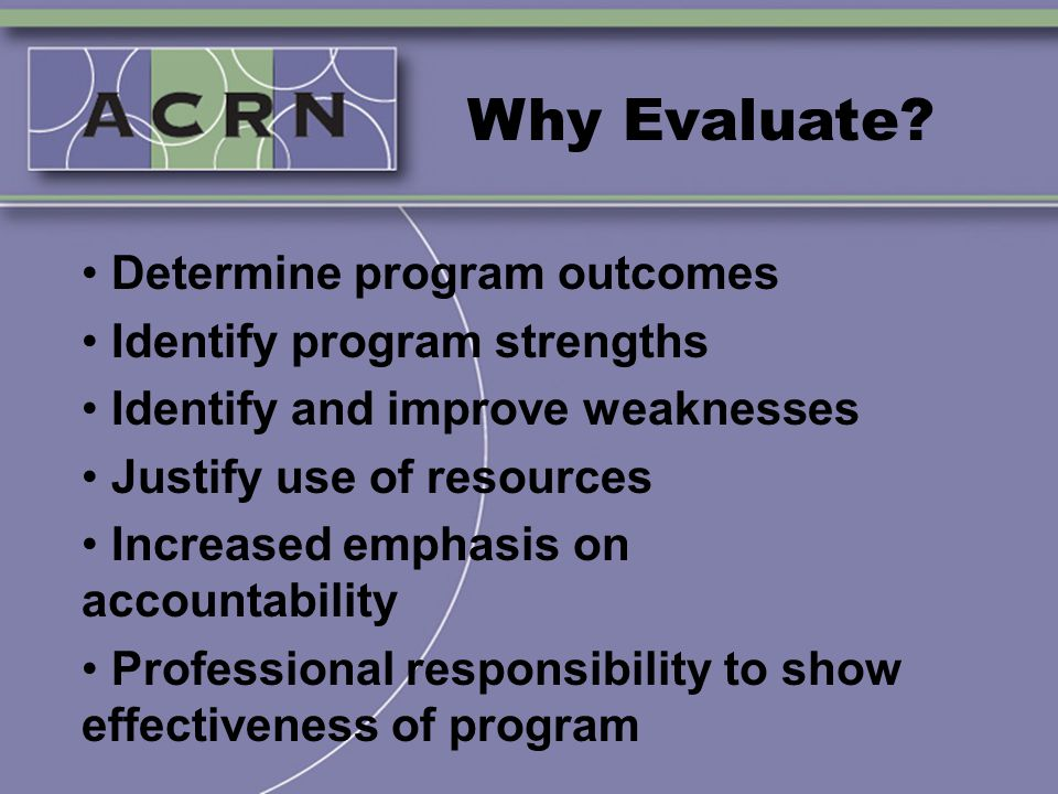 Why Evaluate? Determine program outcomes Identify program strengths Identify and improve weaknesses Justify use of resources Increased emphasis on acc