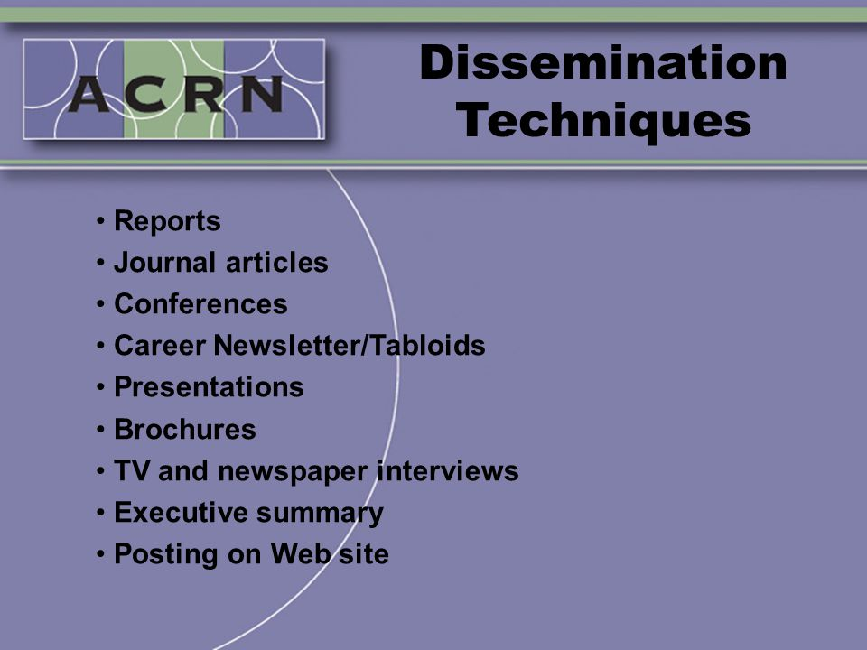 Dissemination Techniques Reports Journal articles Conferences Career Newsletter/Tabloids Presentations Brochures TV and newspaper interviews Executive