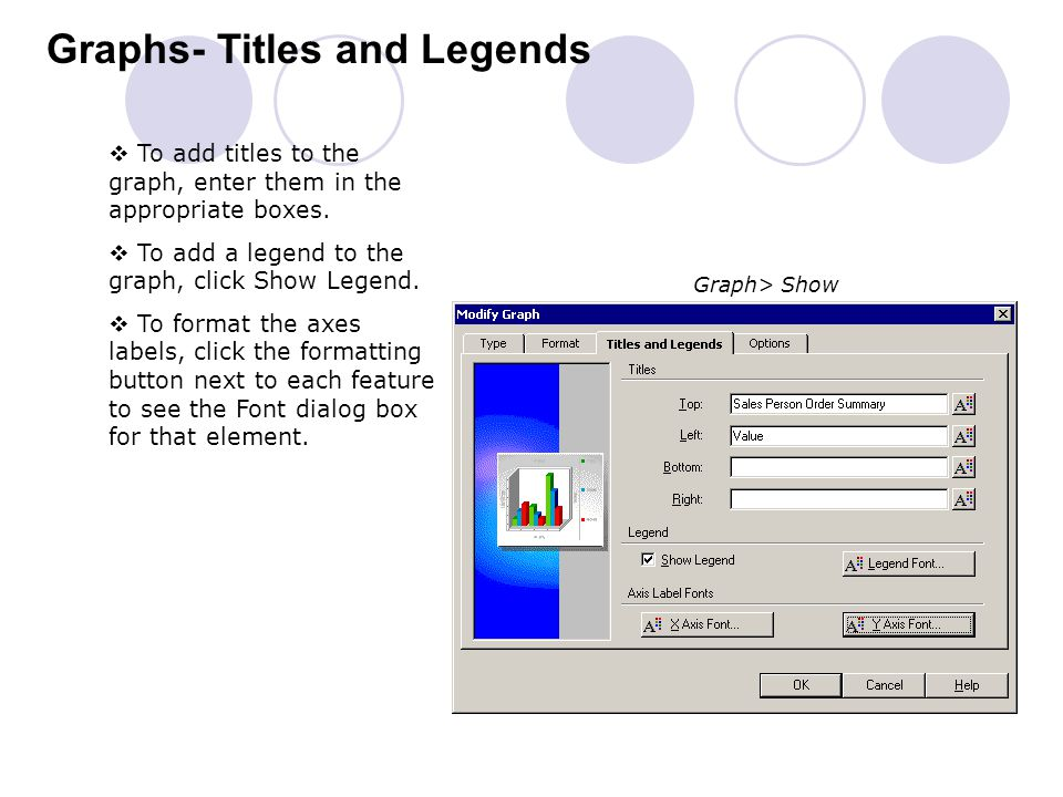 Graphs- Titles and Legends  To add titles to the graph, enter them in the appropriate boxes.  To add a legend to the graph, click Show Legend.  To