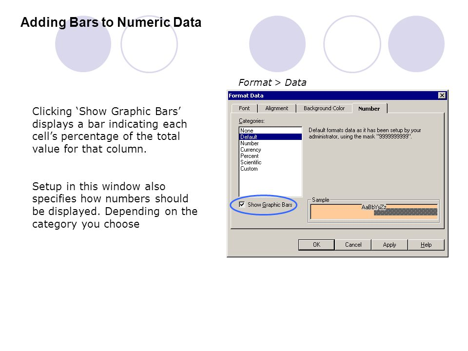 Adding Bars to Numeric Data Clicking 'Show Graphic Bars' displays a bar indicating each cell's percentage of the total value for that column. Setup in