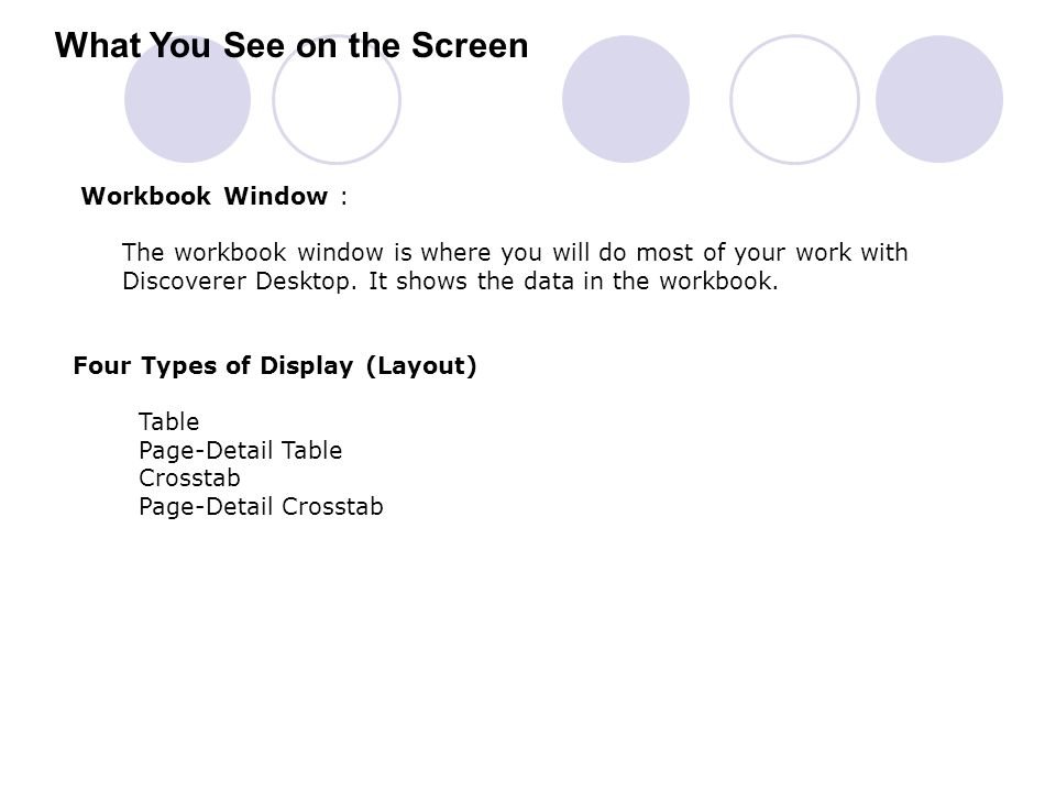 What You See on the Screen Workbook Window : The workbook window is where you will do most of your work with Discoverer Desktop. It shows the data in