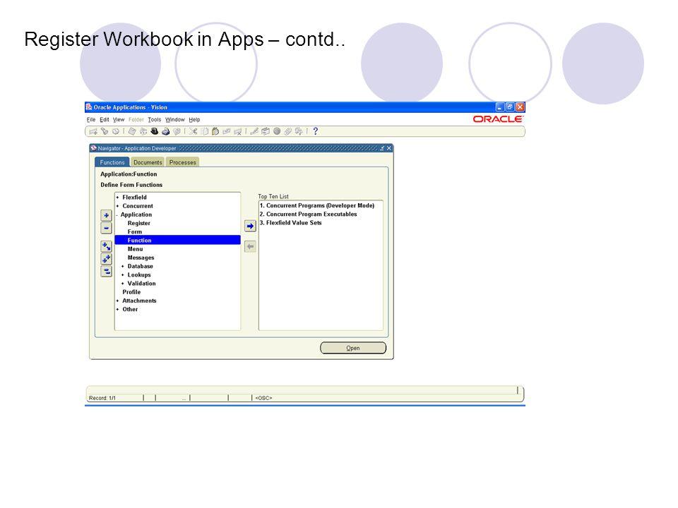Register Workbook in Apps – contd..