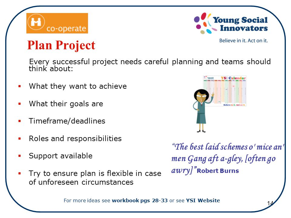 14 Plan Project Every successful project needs careful planning and teams should think about:  What they want to achieve  What their goals are  Timeframe/deadlines  Roles and responsibilities  Support available  Try to ensure plan is flexible in case of unforeseen circumstances For more ideas see workbook pgs 28-33 or see YSI Website The best laid schemes o mice an men Gang aft a-gley, [often go awry] Robert Burns