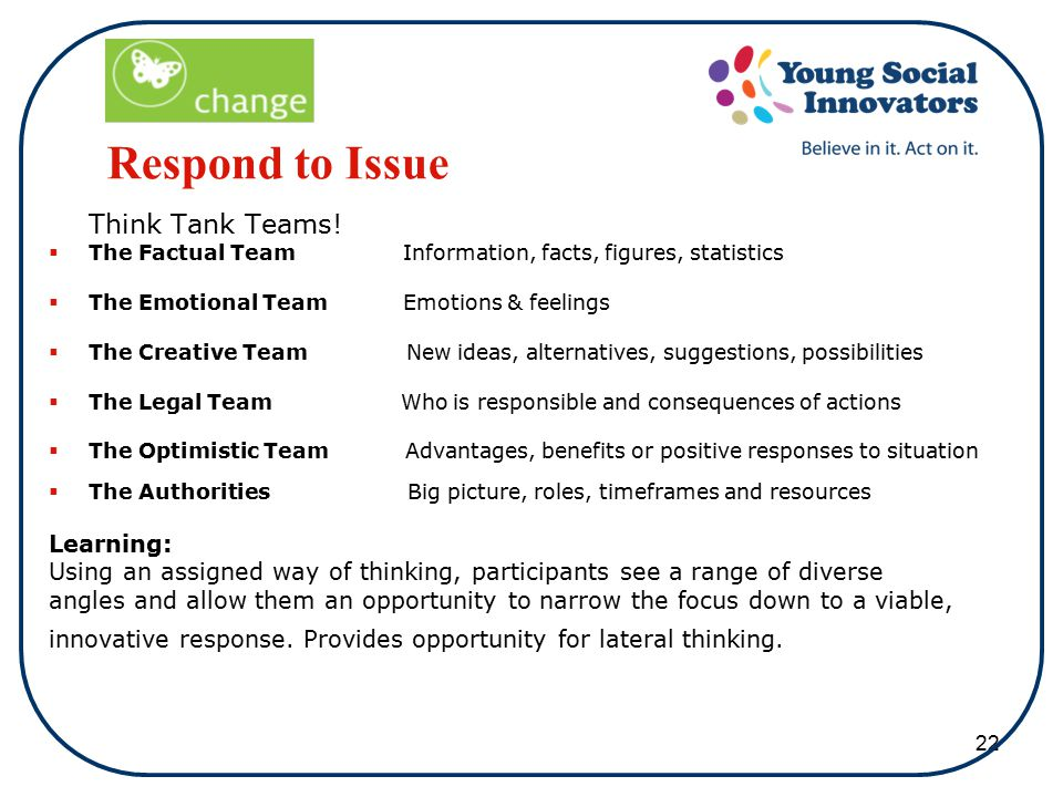 22 Respond to Issue Think Tank Teams.