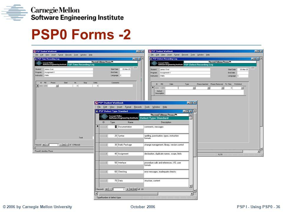 © 2006 by Carnegie Mellon University October 2006 PSP I - Using PSP0 - 36 PSP0 Forms -2