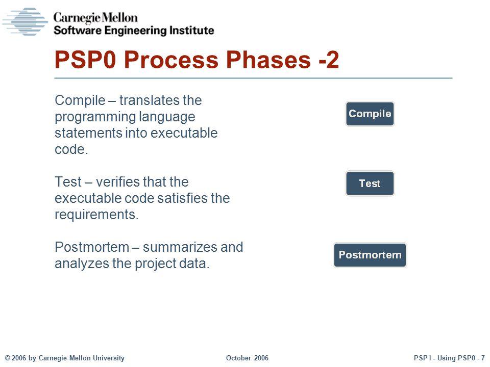 © 2006 by Carnegie Mellon University October 2006 PSP I - Using PSP0 - 7 PSP0 Process Phases -2 Compile – translates the programming language statemen