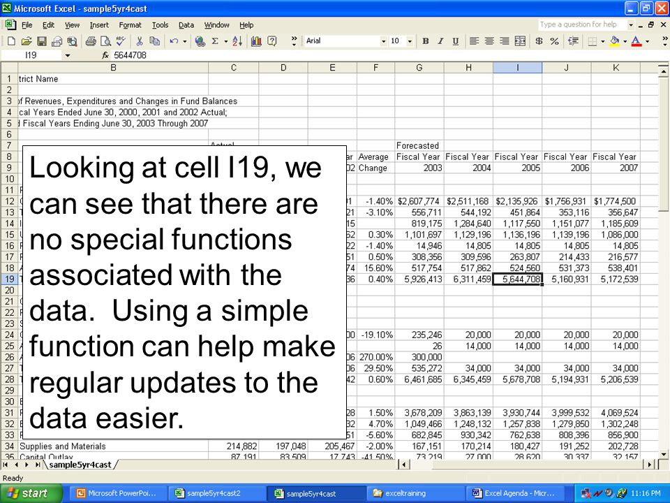 Looking at cell I19, we can see that there are no special functions associated with the data. Using a simple function can help make regular updates to