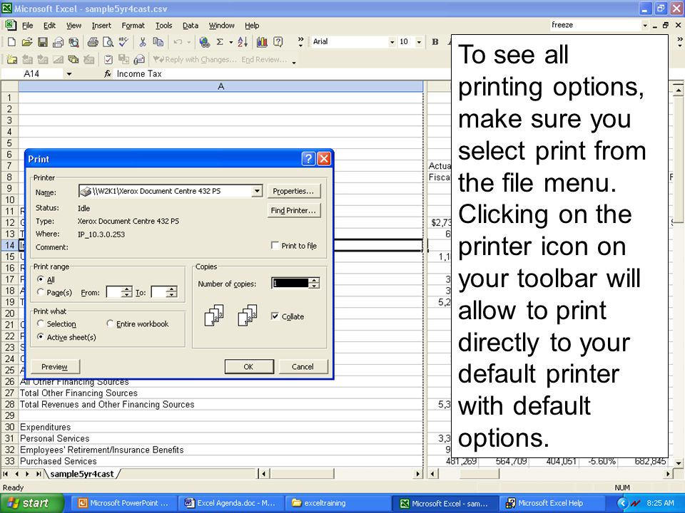 To see all printing options, make sure you select print from the file menu. Clicking on the printer icon on your toolbar will allow to print directly