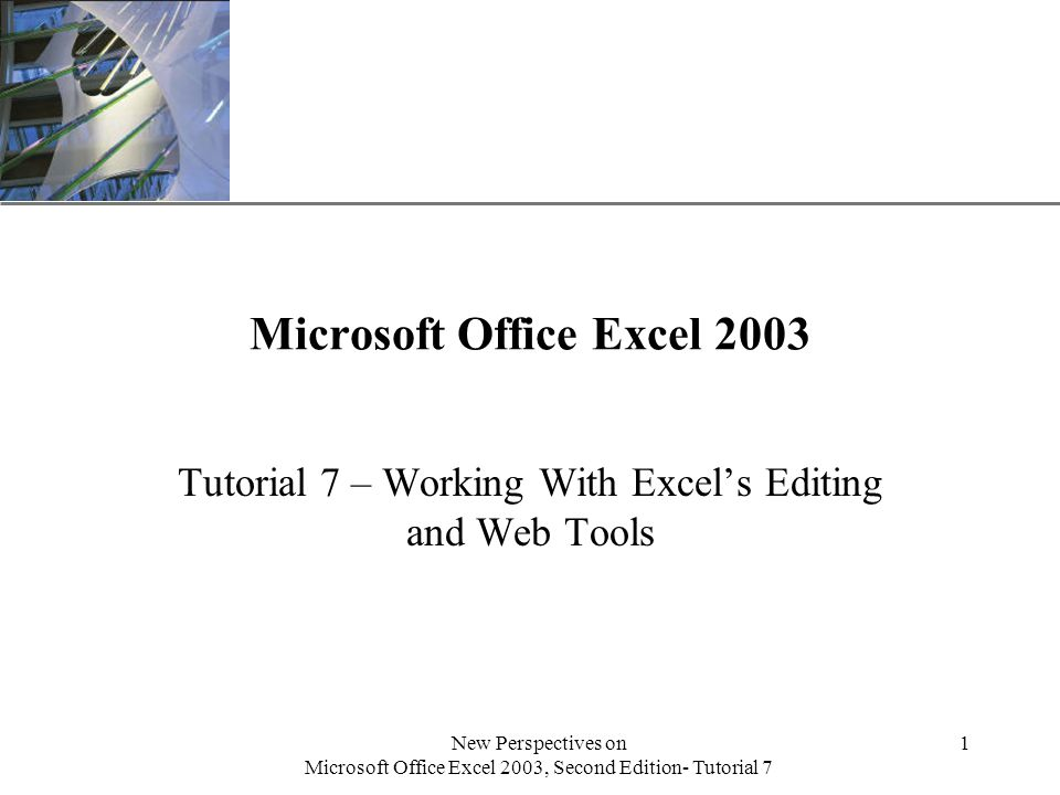 XP New Perspectives on Microsoft Office Excel 2003, Second Edition- Tutorial 7 1 Microsoft Office Excel 2003 Tutorial 7 – Working With Excel's Editing and Web Tools