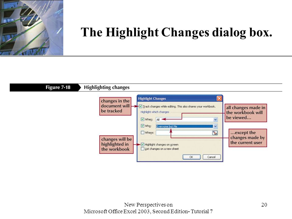 XP New Perspectives on Microsoft Office Excel 2003, Second Edition- Tutorial 7 20 The Highlight Changes dialog box.