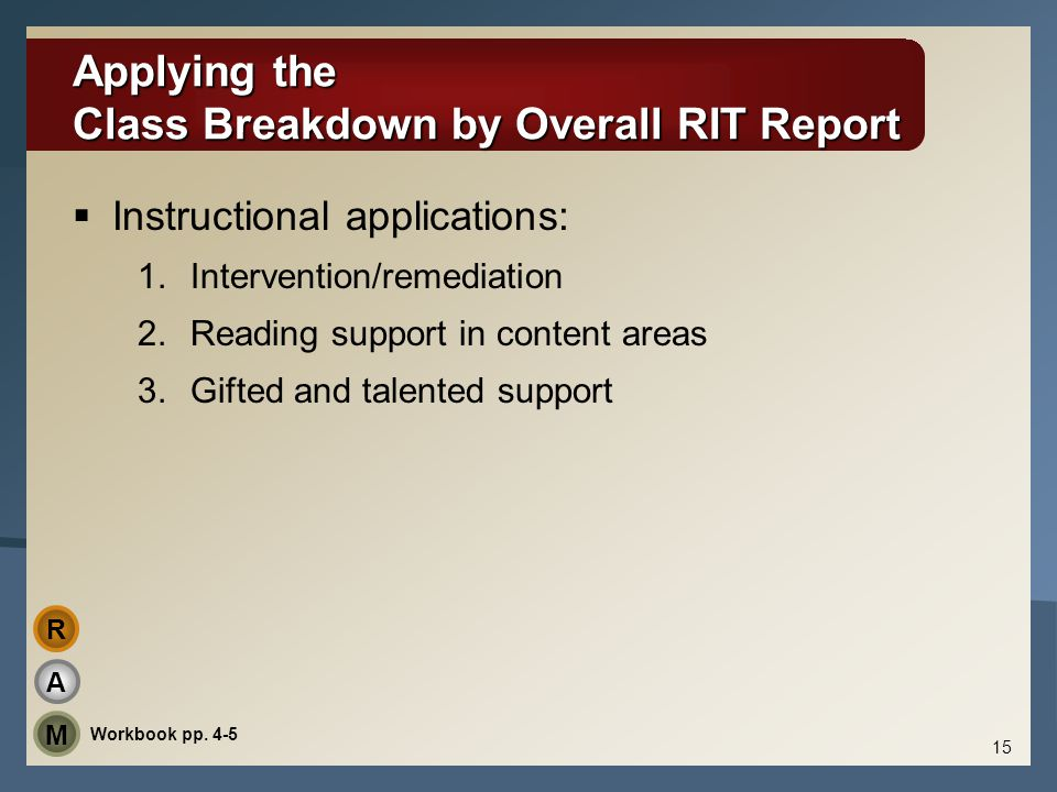 Applying the Class Breakdown by Overall RIT Report  Instructional applications: 1.Intervention/remediation 2.Reading support in content areas 3.Gifte