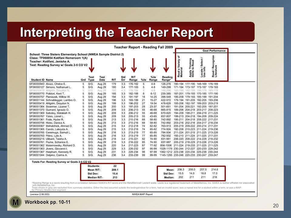  Student Data  Test Type  Standard Error  RIT/RIT Range  Percentile/Percentile Range  Reading Range  Goal Performance Area  Summary Data  Mean/Median  Standard Deviation Interpreting the Teacher Report 20 Workbook pp.