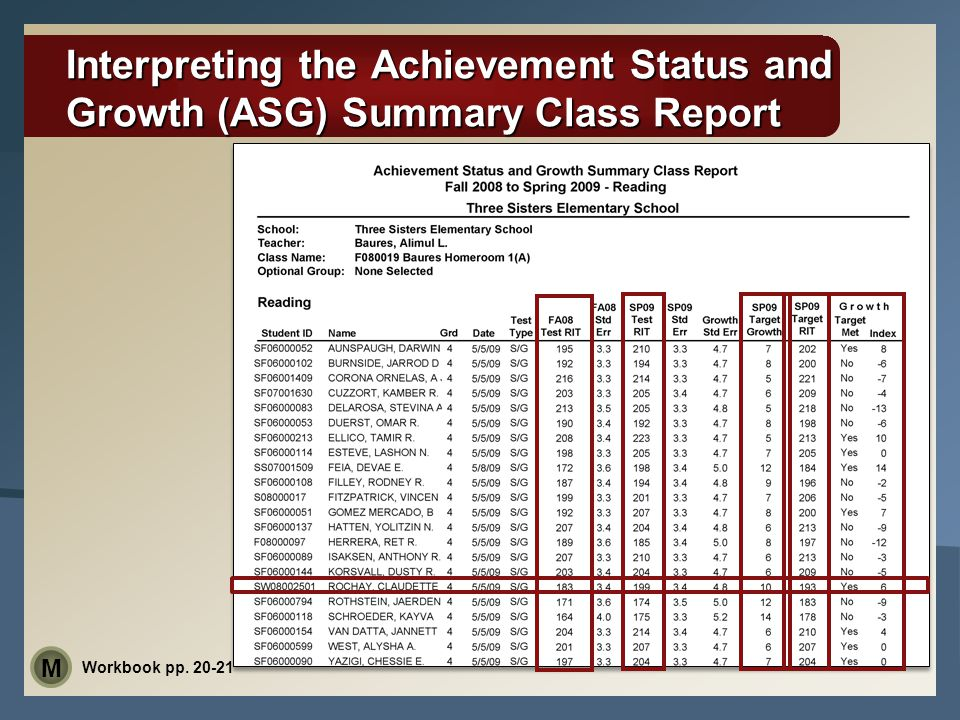 Interpreting the Achievement Status and Growth (ASG) Summary Class Report Workbook pp. 20-21 M