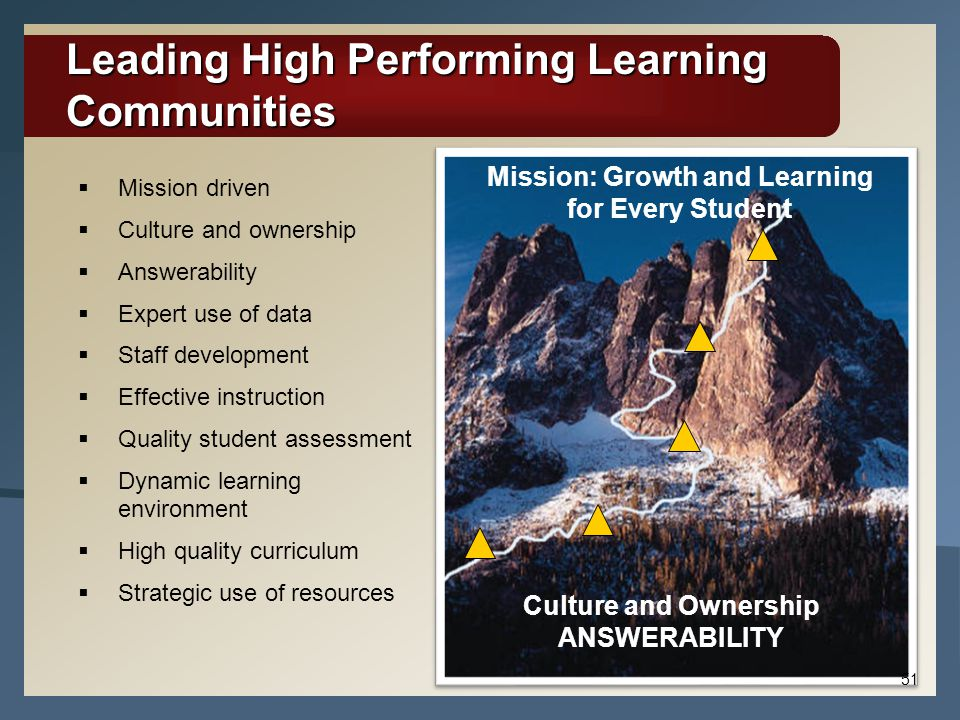 Leading High Performing Learning Communities  Mission driven  Culture and ownership  Answerability  Expert use of data  Staff development  Effec