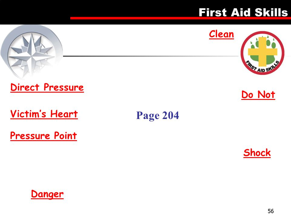 First Aid Skills 56 Direct Pressure Clean Do Not Victim's Heart Pressure Point Shock Danger Page 204