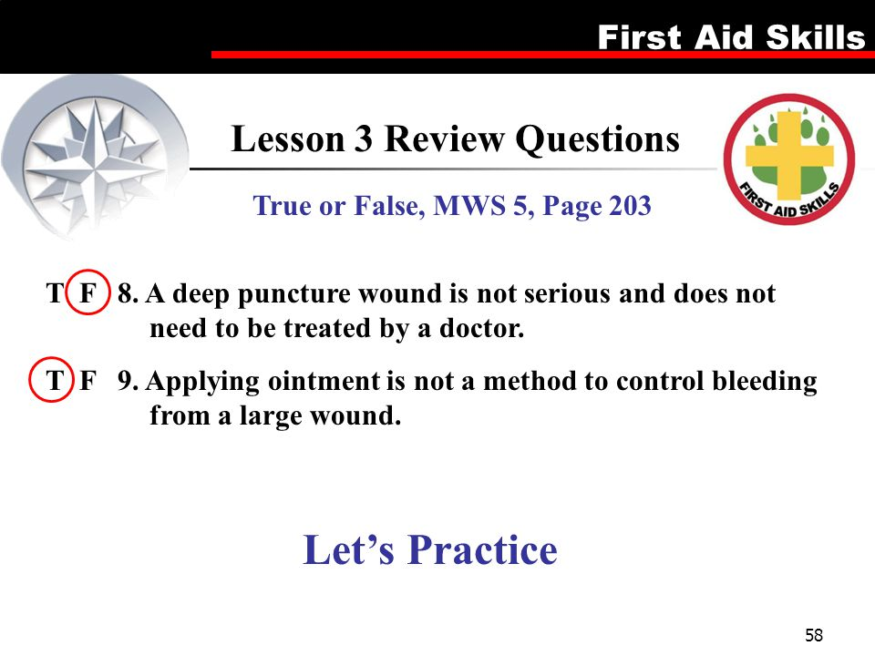 First Aid Skills 58 Lesson 3 Review Questions True or False, MWS 5, Page 203 T F 8. A deep puncture wound is not serious and does not need to be treat