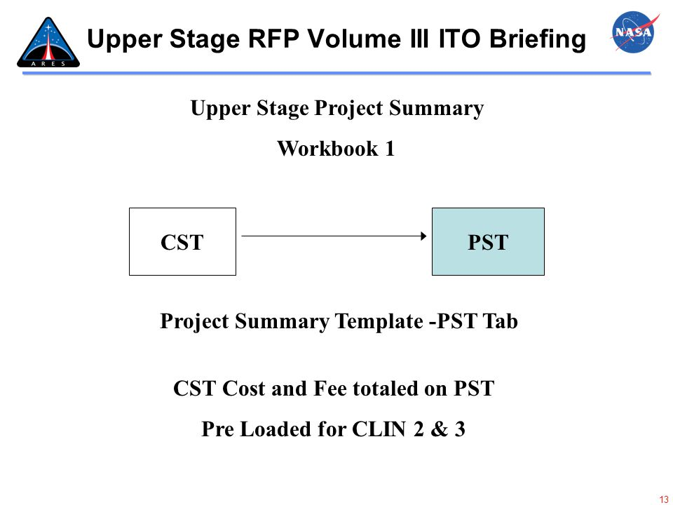 13 Upper Stage RFP Volume III ITO Briefing PSTCST Upper Stage Project Summary Workbook 1 CST Cost and Fee totaled on PST Pre Loaded for CLIN 2 & 3 Pro
