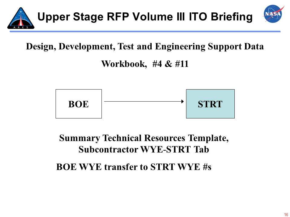 16 Upper Stage RFP Volume III ITO Briefing STRTBOE Design, Development, Test and Engineering Support Data Workbook, #4 & #11 BOE WYE transfer to STRT