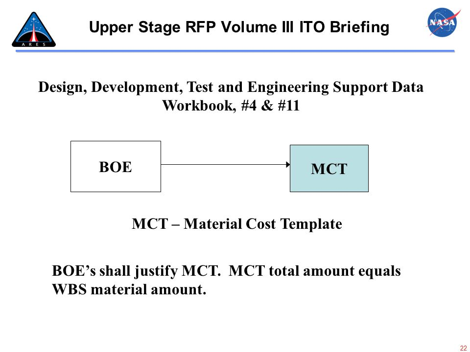 22 Upper Stage RFP Volume III ITO Briefing Design, Development, Test and Engineering Support Data Workbook, #4 & #11 MCT BOE MCT – Material Cost Templ