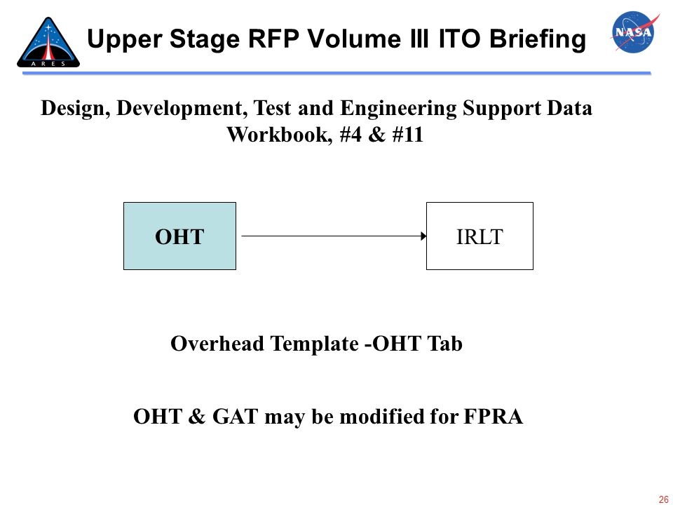 26 Upper Stage RFP Volume III ITO Briefing OHTIRLT Design, Development, Test and Engineering Support Data Workbook, #4 & #11 OHT & GAT may be modified