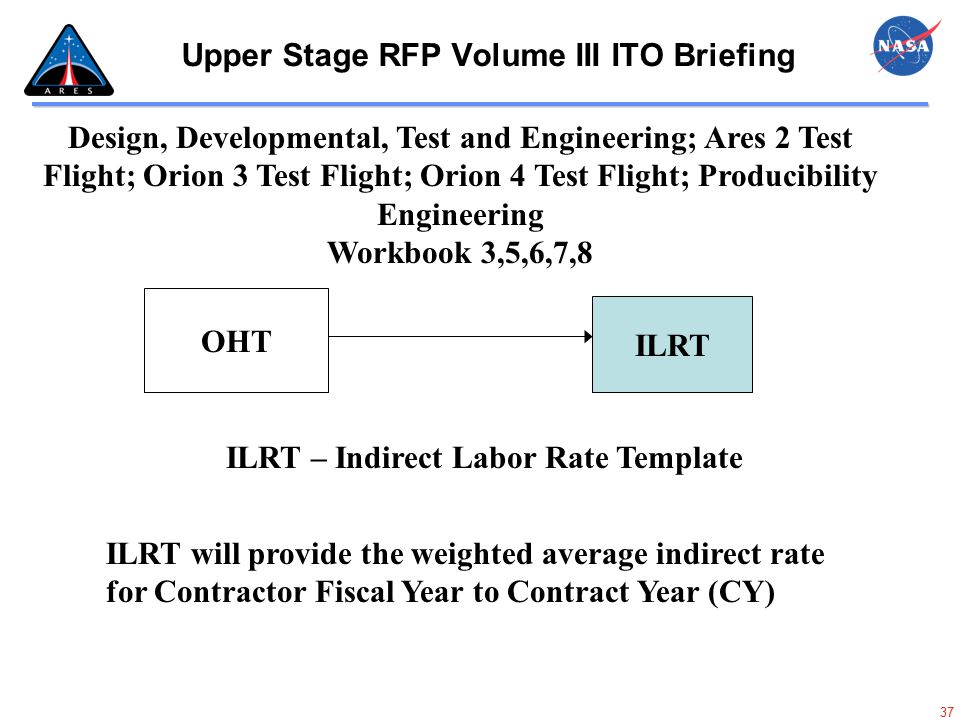 37 Upper Stage RFP Volume III ITO Briefing Design, Developmental, Test and Engineering; Ares 2 Test Flight; Orion 3 Test Flight; Orion 4 Test Flight;