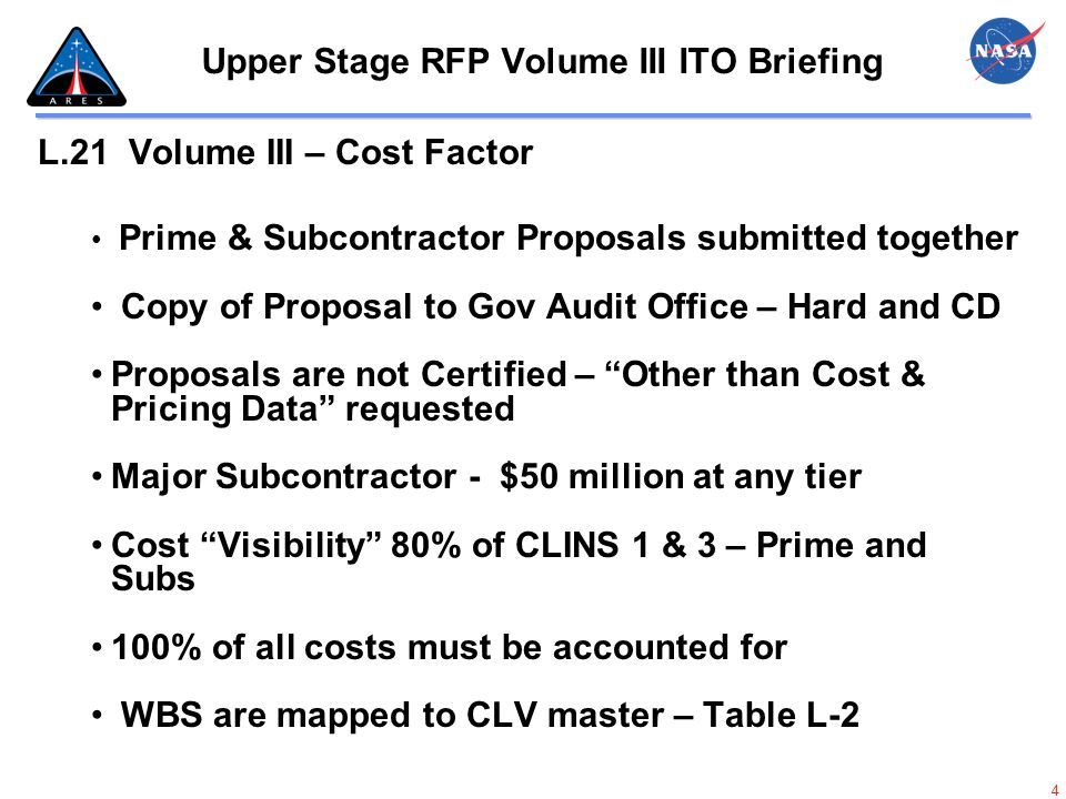 35 Upper Stage RFP Volume III ITO Briefing Design, Developmental, Test and Engineering; Ares 2 Test Flight; Orion 3 Test Flight; Orion 4 Test Flight; Producibility Engineering Workbook 3,5,6,7,8 IRT GAT IRT – Indirect Rate Template IRT will provide the weighted average indirect rate for Contractor Fiscal Year to Contract Year (CY)