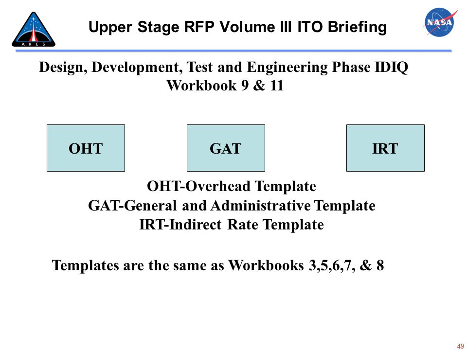 49 Upper Stage RFP Volume III ITO Briefing IRT Design, Development, Test and Engineering Phase IDIQ Workbook 9 & 11 GATOHT OHT-Overhead Template GAT-G