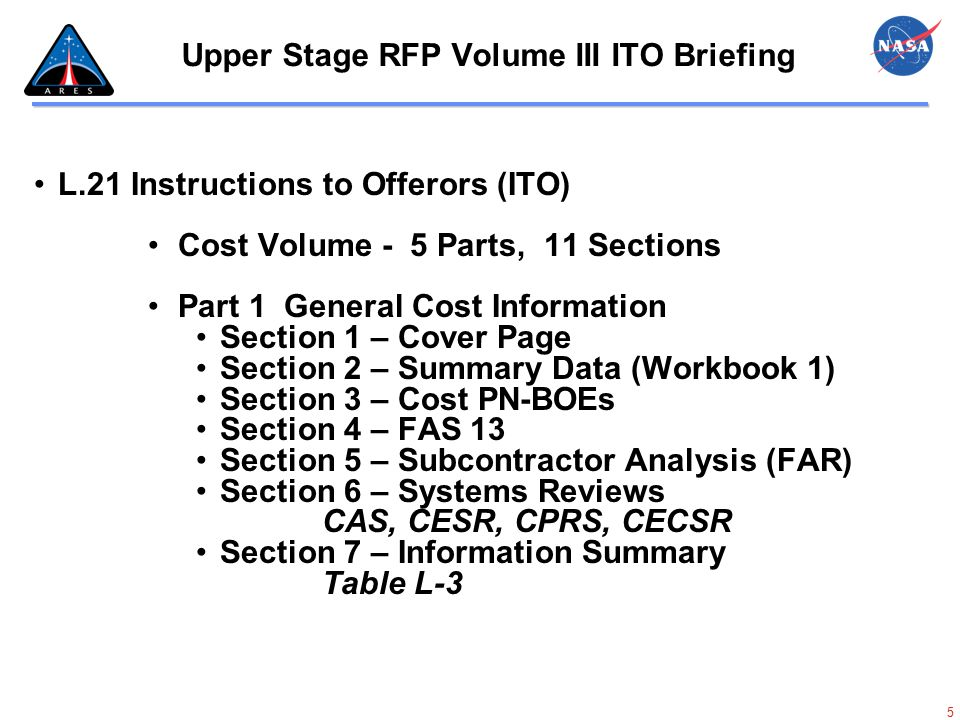 6 Upper Stage RFP Volume III ITO Briefing.L.21 Instructions to Offerors (ITO) (Cont) Part 2 Excel Pricing Model (EPM) Government Standard Format Offeror may modify workbooks Section 8 – Workbooks 14 Workbooks – MS Excel files Attachment L-1 Must be self calculating