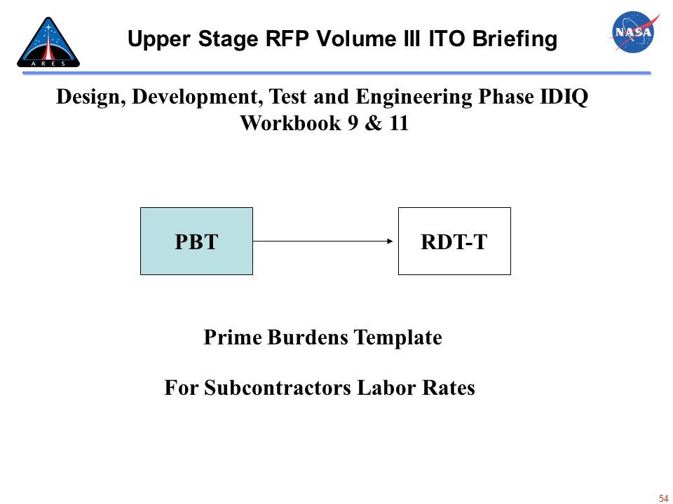54 Upper Stage RFP Volume III ITO Briefing Design, Development, Test and Engineering Phase IDIQ Workbook 9 & 11 PBTRDT-T Prime Burdens Template For Su