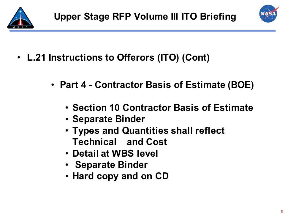 60 Upper Stage RFP Volume III ITO Briefing BOE - Basis Of Estimate
