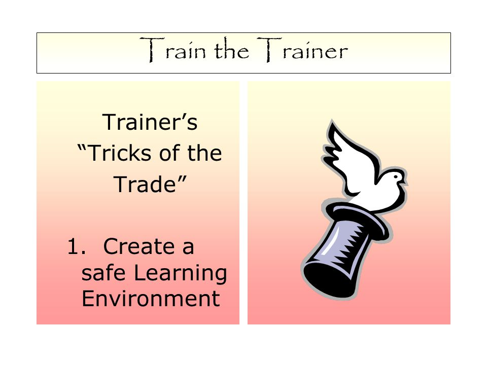 Train the Trainer Trainer's Tricks of the Trade 1. Create a safe Learning Environment