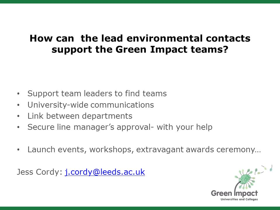 How can the lead environmental contacts support the Green Impact teams.