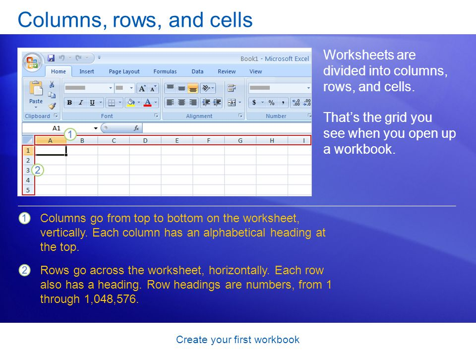 Create your first workbook Columns, rows, and cells Worksheets are divided into columns, rows, and cells. That's the grid you see when you open up a w