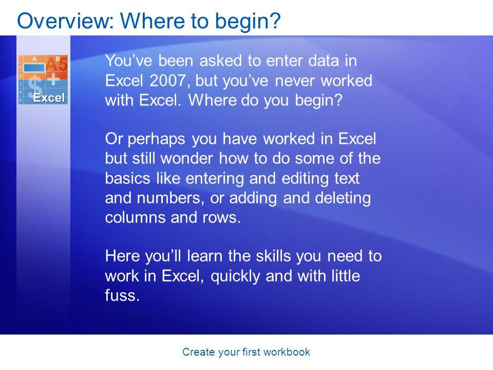 Create your first workbook Course goals Create a new workbook.