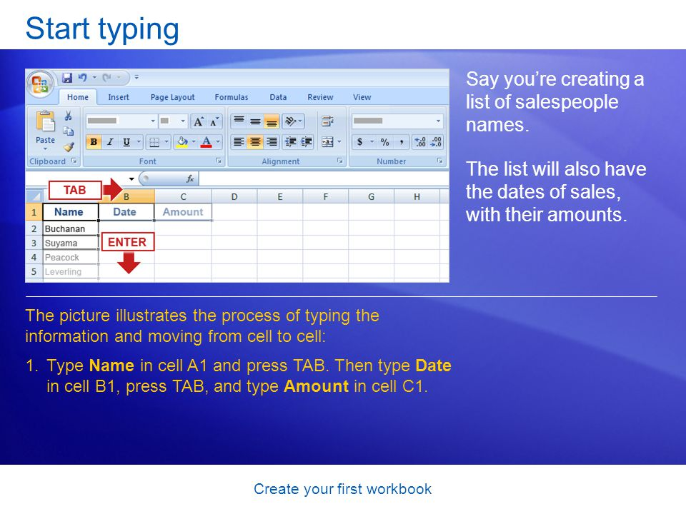 Create your first workbook Start typing Say you're creating a list of salespeople names. The list will also have the dates of sales, with their amount